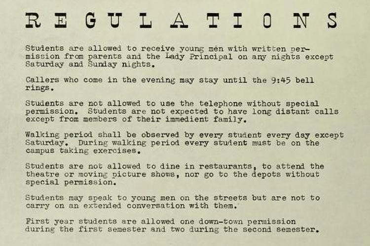 Student regulations list