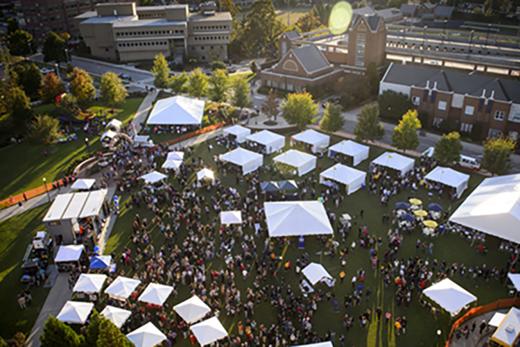 Aerial view of homecoming activities