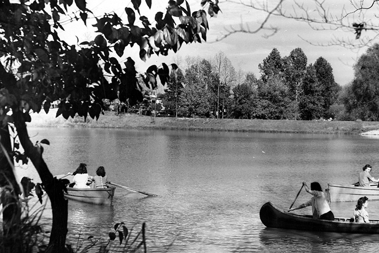 Canoers on UNCG Lake