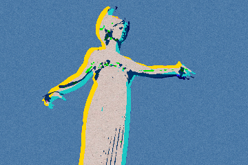 Pop art rendition of Minerva statue