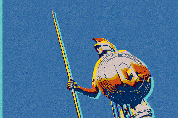 Pop art rendition of spartan statue