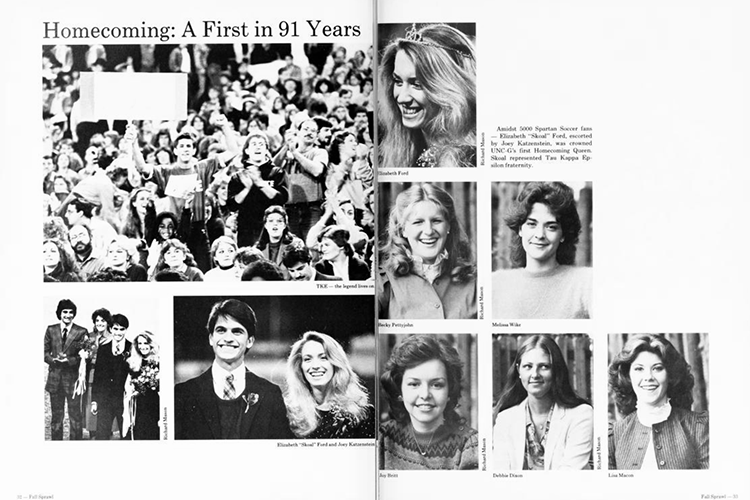 Collage of 1982 homecoming event photos