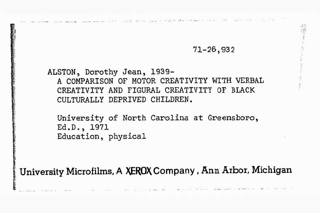 Dorothy Jean Alston thesis abstract