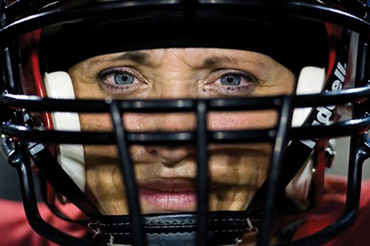 Athlete's face in helmet
