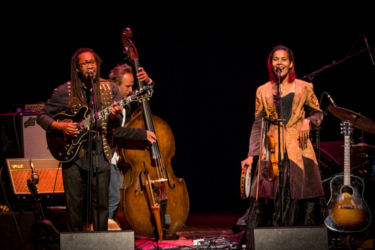 Rhiannon Giddens and her band performs on stage in the UNCG Auditorium during Founders Day Festival, 2017